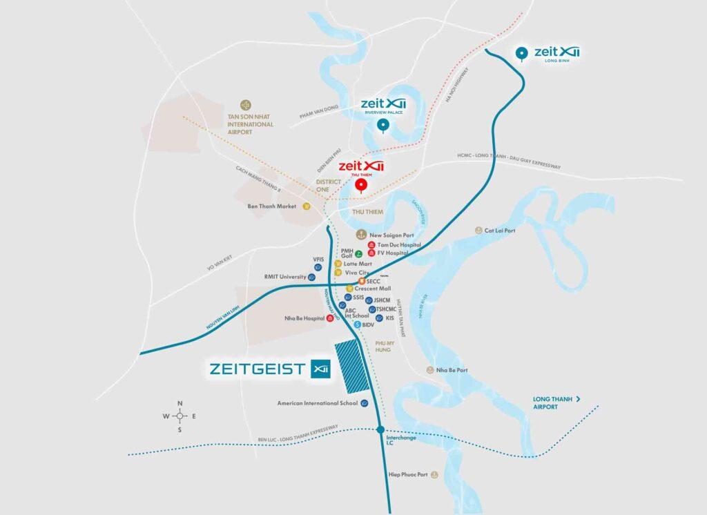Bản đồ vị trí dự án trong khu đô thị mới Thủ Thiêm Quận 2