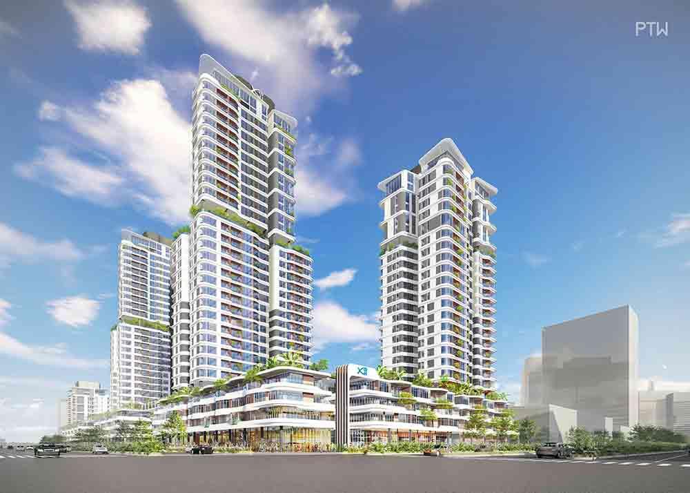 Hình phối cảnh 2 tòa tháp cao 25-32 tầng thuộc giai đoạn 1 của dự án