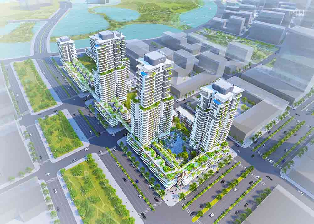 Hình phối cảnh 6 tòa tháp căn hộ Thủ Thiêm Zeit của tập đoàn GS E&C tại khu đô thị mới Thủ Thiêm Quận 2